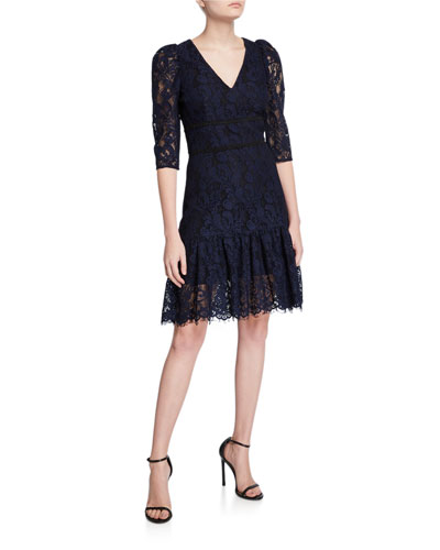 Miran V-Neck 1/2-Sleeve Lace A-Line Dress