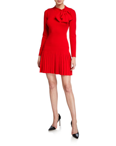 Pierce Tie-Neck Long-Sleeve Pleated Mini Dress