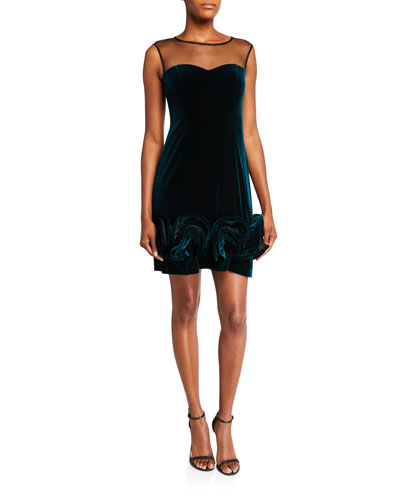 Cap-Sleeve Velvet Illusion Cocktail Dress w/ Ruffle Skirt Detail