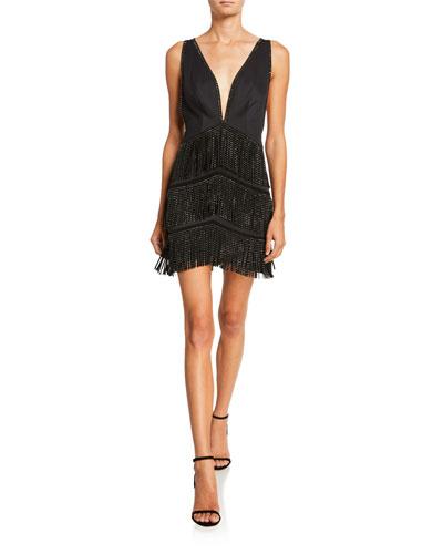 Beaded Fringe Deep V-Neck Sleeveless Mini Cocktail Dress