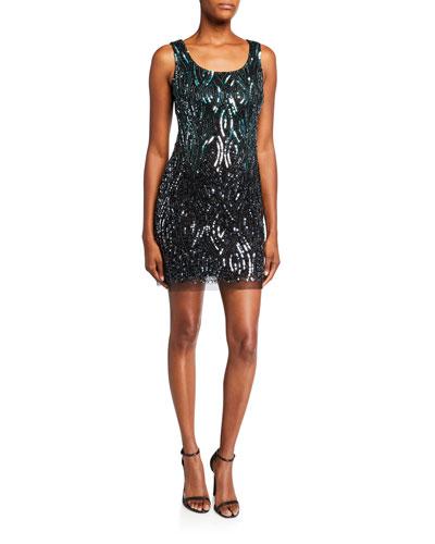 Beaded Scoop-Neck Sleeveless Cocktail Dress