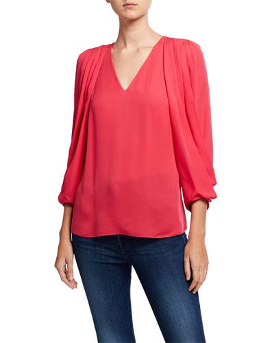 Camryn V-Neck Draped Sleeve Silk Blouse