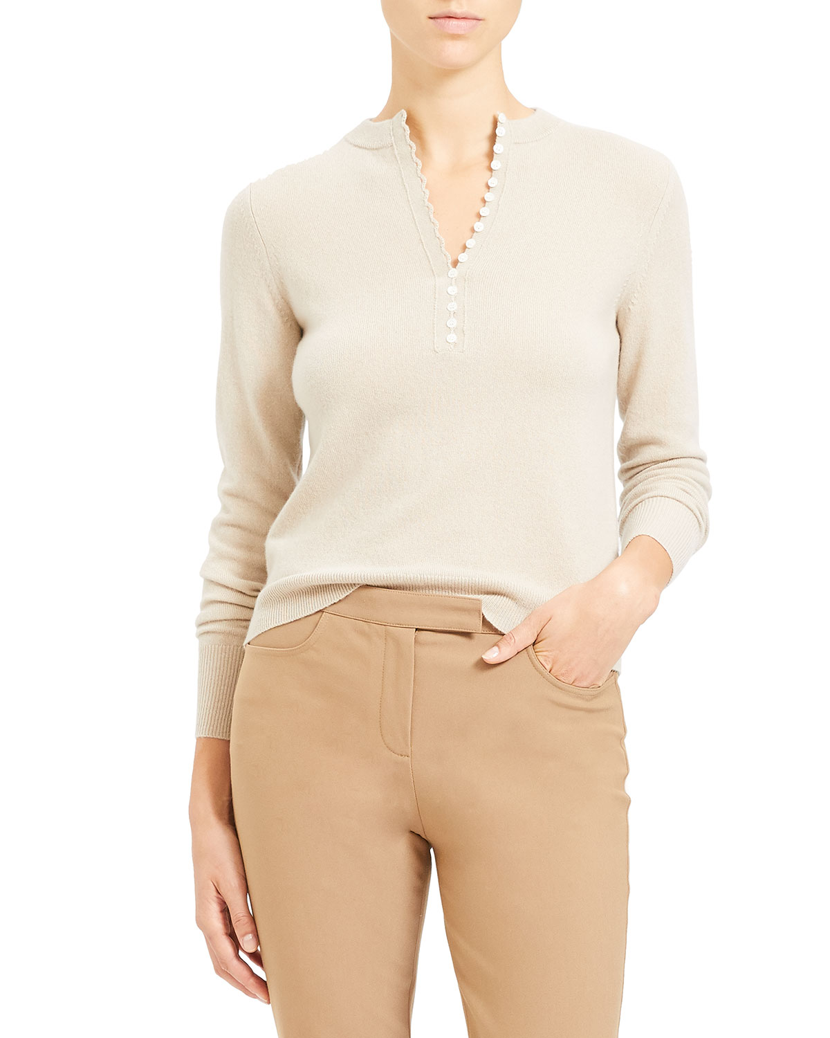 Theory Tops BUTTON PLACKET CASHMERE HENLEY TOP