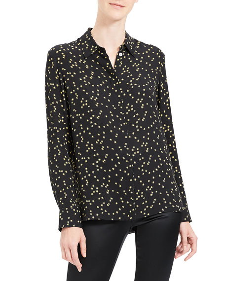 Theory Classic Printed Button-Down Shirt
