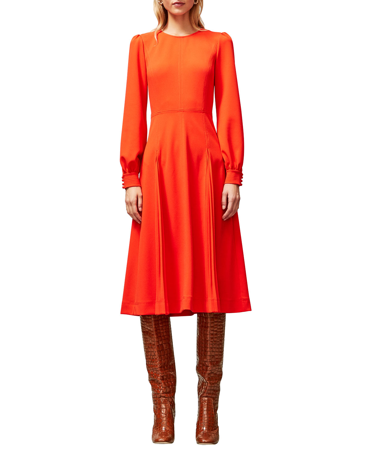 Tory Burch Dresses LONG-SLEEVE STITCHED KNIT CREPE DRESS