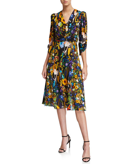 Kobi Halperin Kailyn Floral V-Neck 3/4-Sleeve Dress