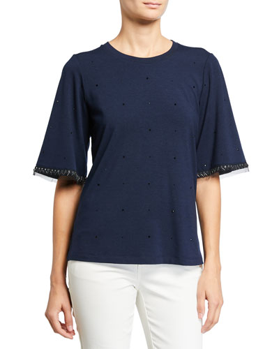 Livia Beaded Short-Sleeve Top
