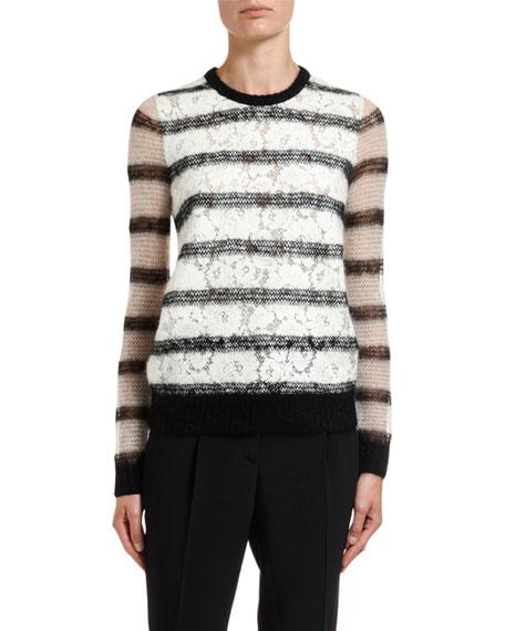 No. 21 Crewneck Lace Knit Mohair Sweater