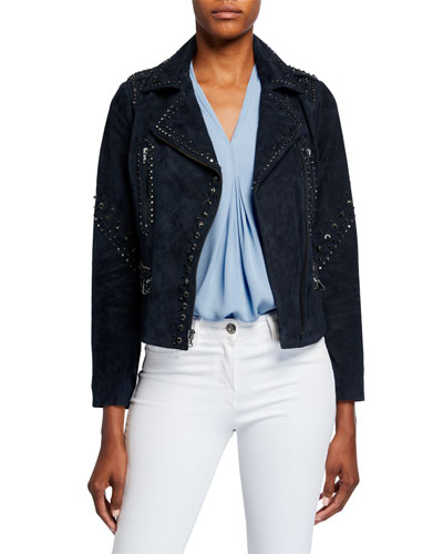 Veronia Embellished Suede Moto Jacket