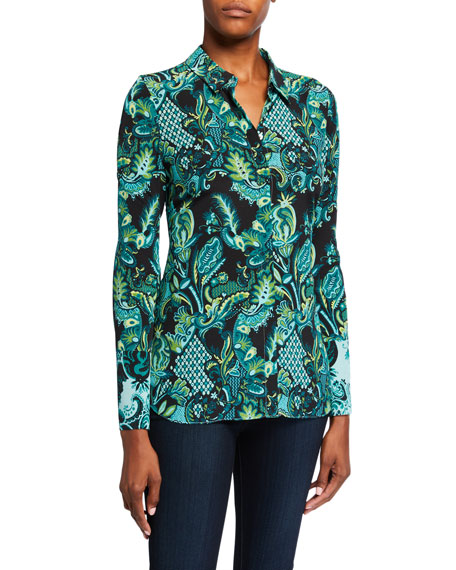Kobi Halperin Lindy Printed Silk Button-Down Blouse