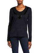 Kobi Halperin Delia Beaded-Trim V-Neck Sweater