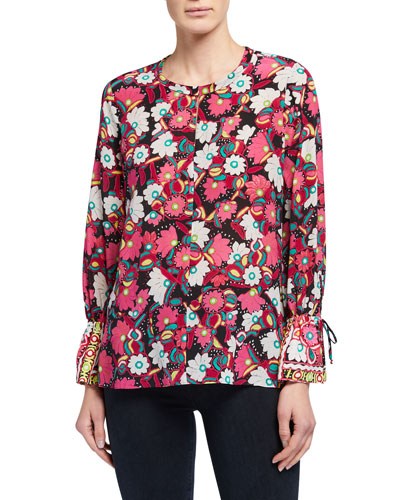 Pia Floral Print Long-Sleeve Silk Blouse