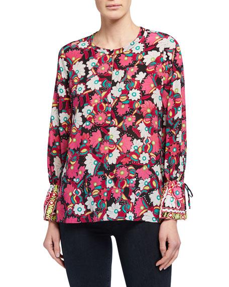 Kobi Halperin Pia Floral Print Long-Sleeve Silk Blouse