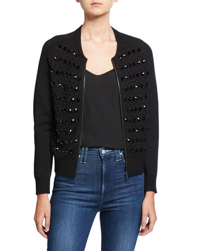 Ashley Embellished Zip Front Sweater Jacket