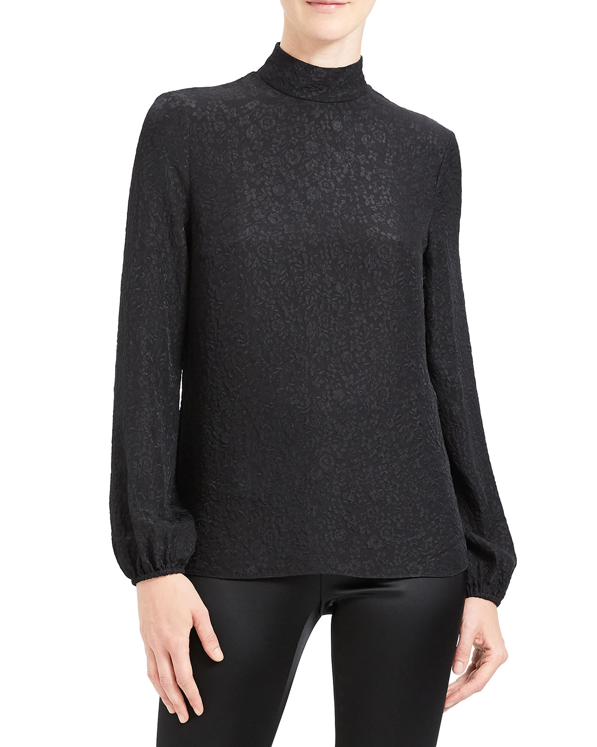 Theory Tops FLORAL JACQUARD MOCK NECK LONG-SLEEVE SILK TOP