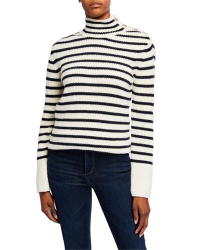 Striped Wool-Blend Turtleneck Sweater