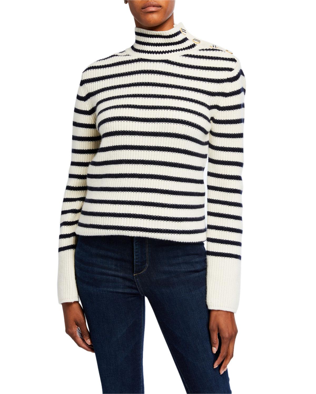 Tory Burch Sweaters STRIPED WOOL-BLEND TURTLENECK SWEATER