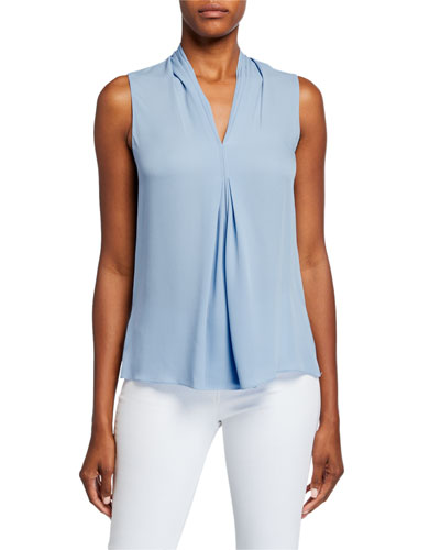 Marina V-Neck Sleeveless Pleated Silk Blouse