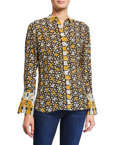 Marla Printed Button-Down Silk Blouse