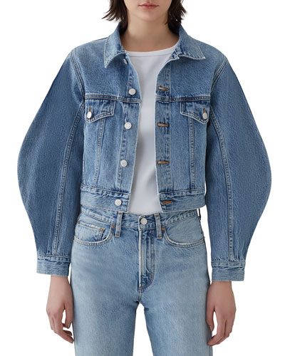Alik Cropped Denim Jacket with Exaggerated Sleeves
