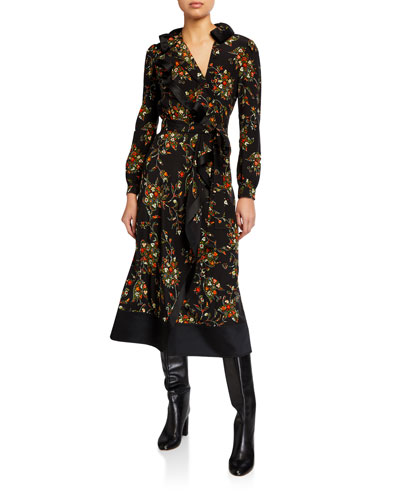 Floral Printed Long-Sleeve Ruffle Wrap Dress