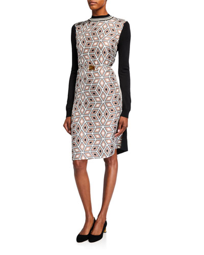 Printed Silk Front Long-Sleeve Sweater Back Dress