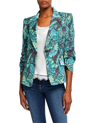Sherene Printed One-Button Jacket