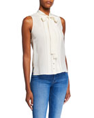 Tory Burch Sleeveless Silk Bow Top
