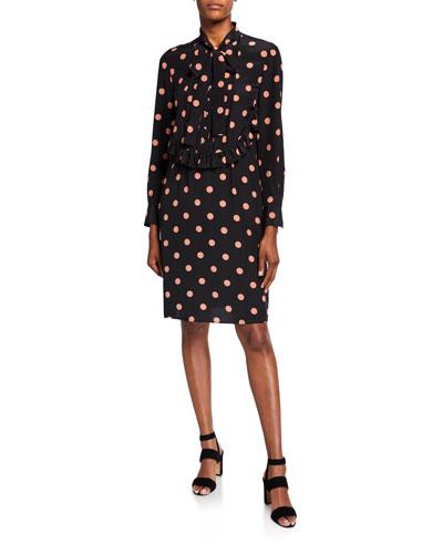 Dot Printed Bow-Neck Long-Sleeve Silk Dress