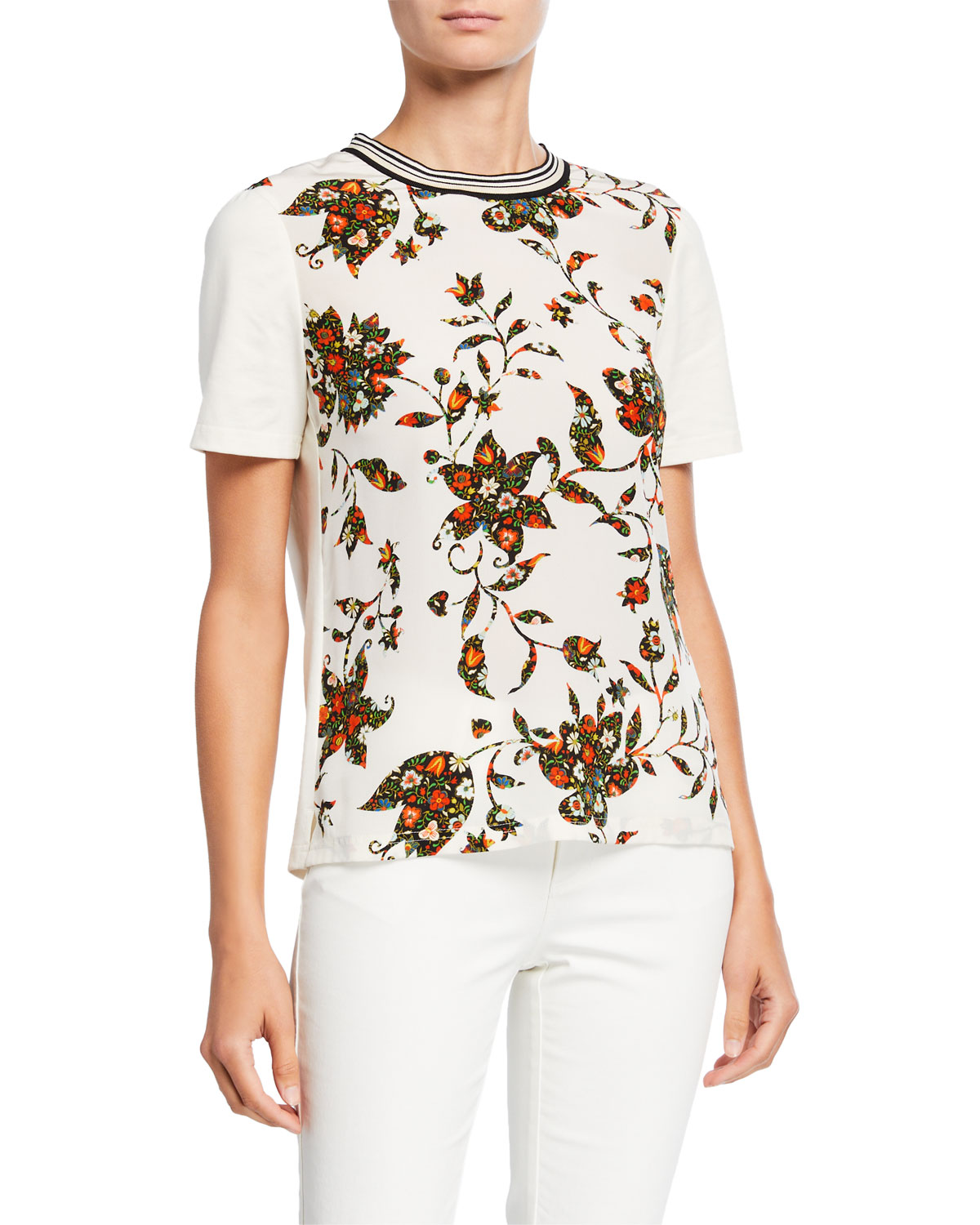 Tory Burch Cottons FLORAL SHORT-SLEEVE COTTON T-SHIRT