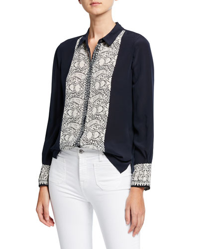 Jude Button-Down Paisley Embroidered Silk Blouse