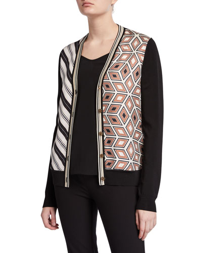 Mix Print Silk Front V-Neck Button-Front Cardigan