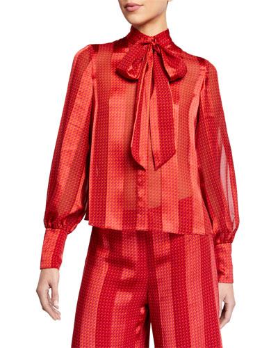 Destra Tie-Neck Striped Blouse
