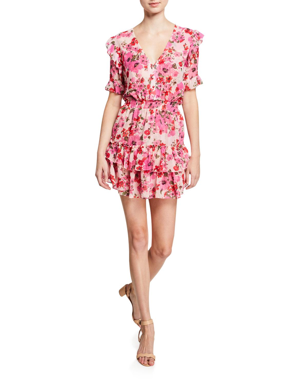 Misa Dresses DEVAN SMOCKED RUFFLE FLORAL-PRINT DRESS