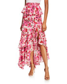 MISA Los Angeles Lucia Floral Tiered Split Long