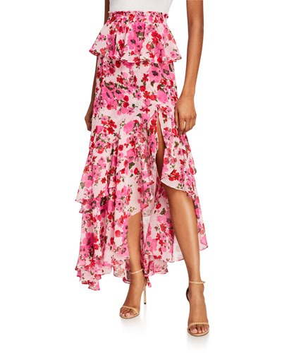 Lucia Floral Tiered Split Long Skirt