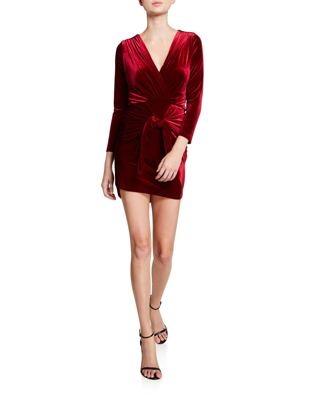 Misa Dresses OPHELIE VELVET TIE-FRONT DRESS