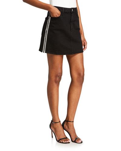 Good High-Rise Mini Skirt w/ Crystal Stripes