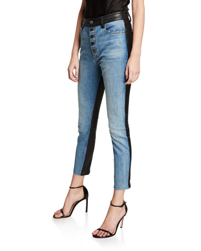 Good Leather-Back High-Rise Button-Front Jeans