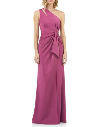 Emma Draped One-Shoulder Stretch Faille Gown w/ Twist Detail