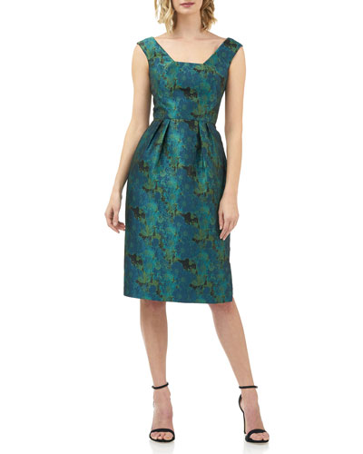 Julia Printed Jacquard Sleeveless Cocktail Dress w/ Pegged Skirt