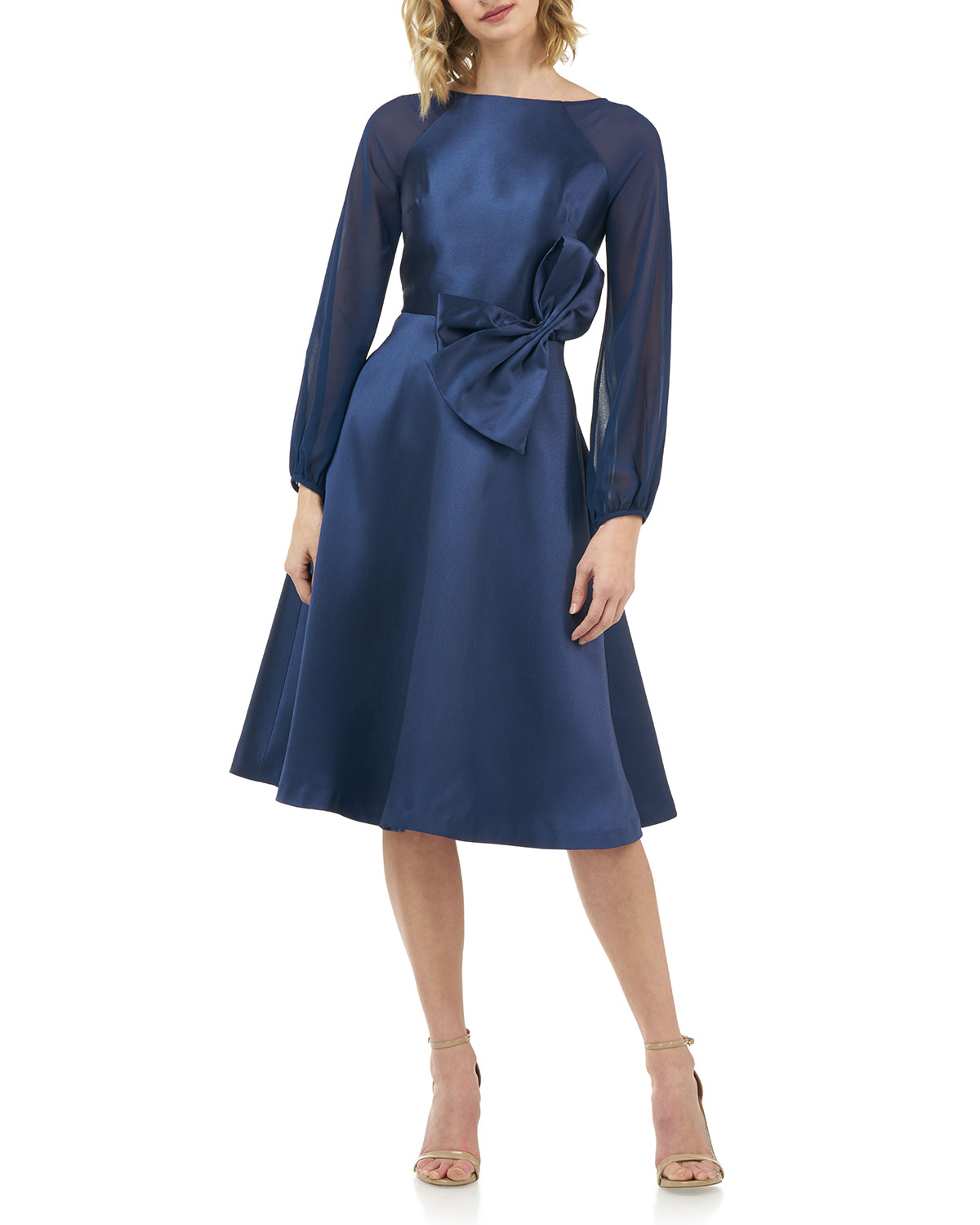 Kay Unger Dresses JADE MIKADO DRESS WITH CHIFFON BLOUSON-SLEEVES & 3D BOW DETAIL