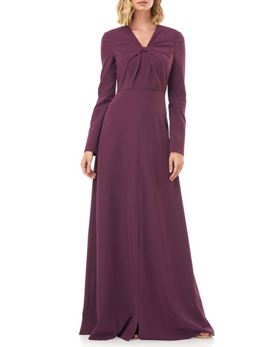 Mia V-Neck Long-Sleeve Stretch Crepe Gown w/ Front Knot