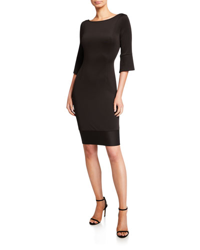 Boat-Neck 1/2-Sleeve Scuba Dress