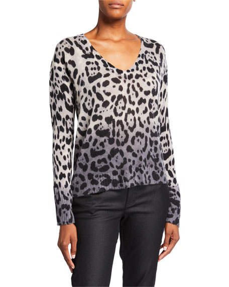 360Sweater Lauren Leopard-Print Ombre Cashmere Sweater