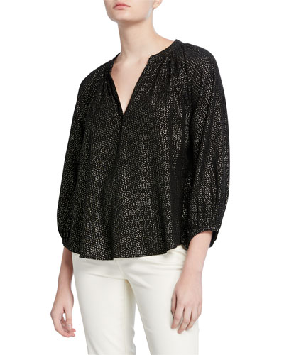 Shirley Printed Metallic Top