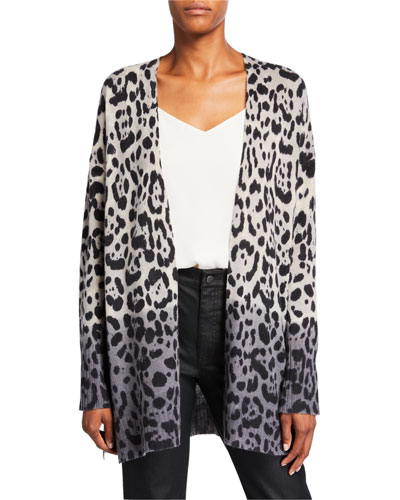 Jocelyn Leopard-Print Ombre Cardigan