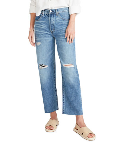 Tyler High-Rise Distressed Boyfriend Ankle Jeans