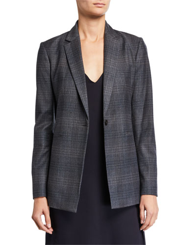 Soft Plaid Wool Blazer