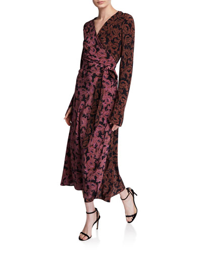 Tilly Floral Long-Sleeve Wrap Dress